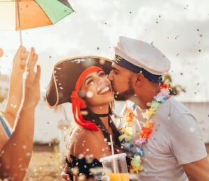 Happy couple celebrating